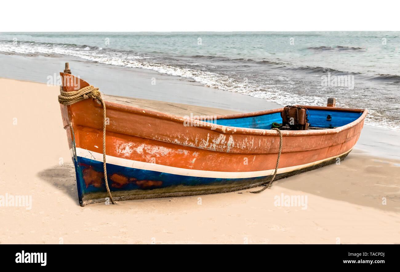 Beach Boat Ocean Rough Weather Stock Photos & Beach Boat