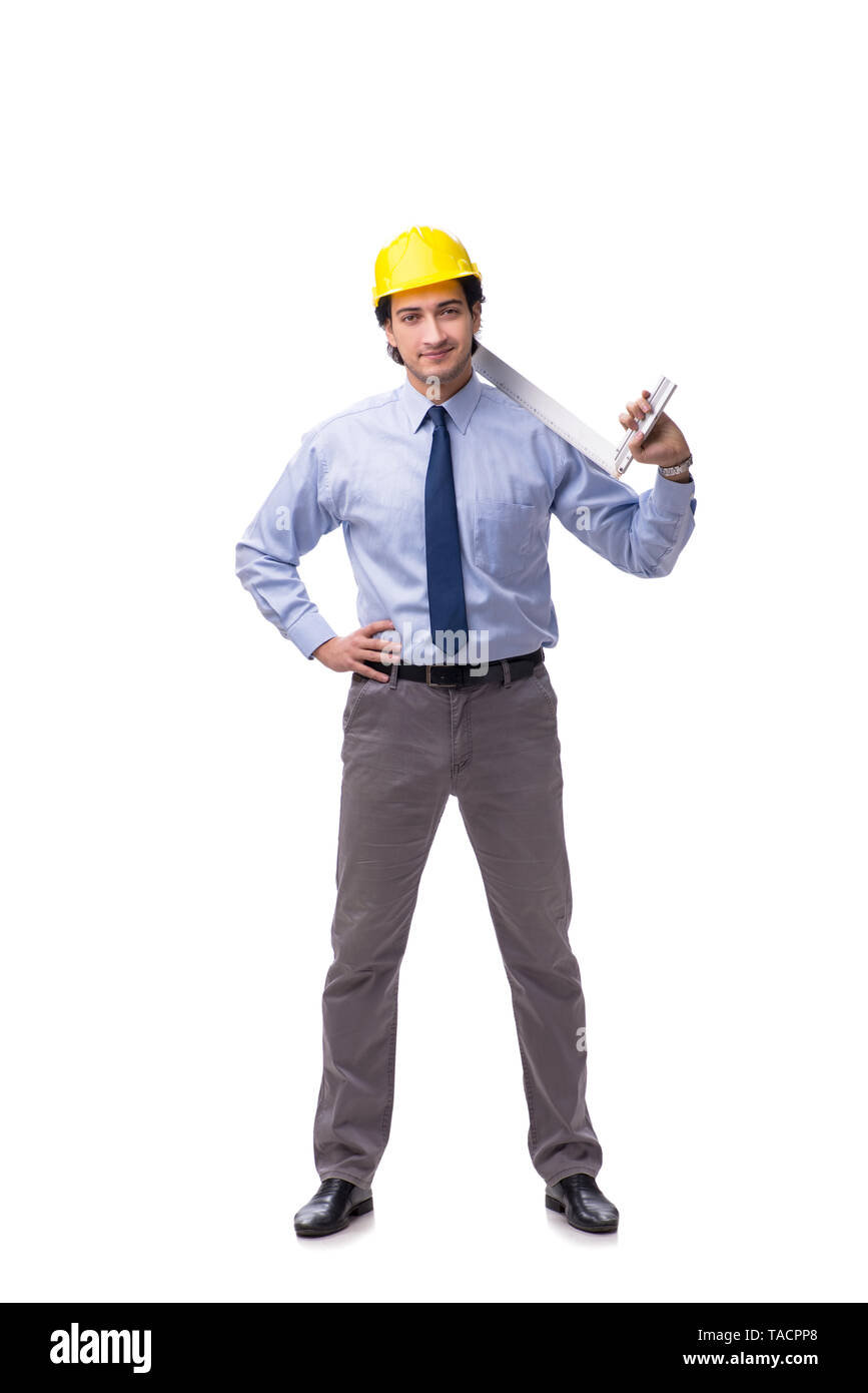 Young male architect isolated on white - Stock Image