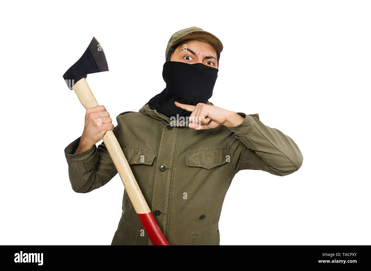 Criminal wearing mask isolated on white - Stock Image