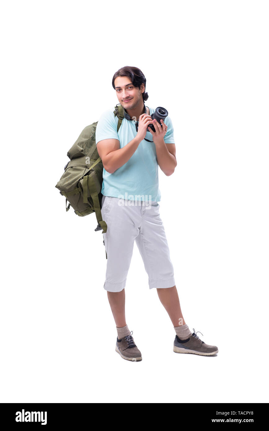 Young handsome tourist isolated on white - Stock Image