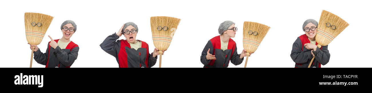 Woman with sweeping brush isolated on white - Stock Image