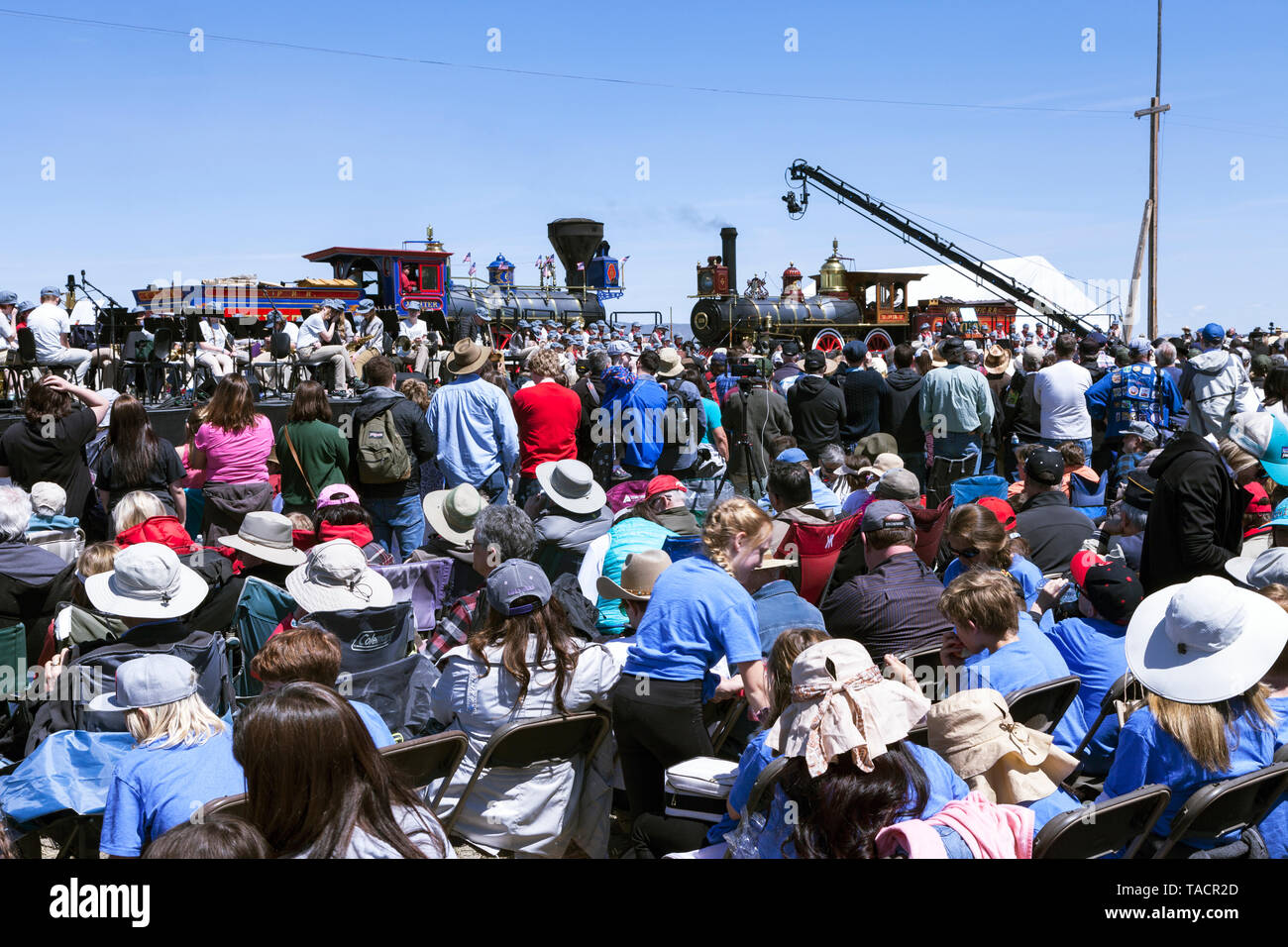 Author Jon Meachum speaks from the podium during the 150th anniversary celebration of the completion of the Transcontinental Railroad on May 10, 2019  - Stock Image