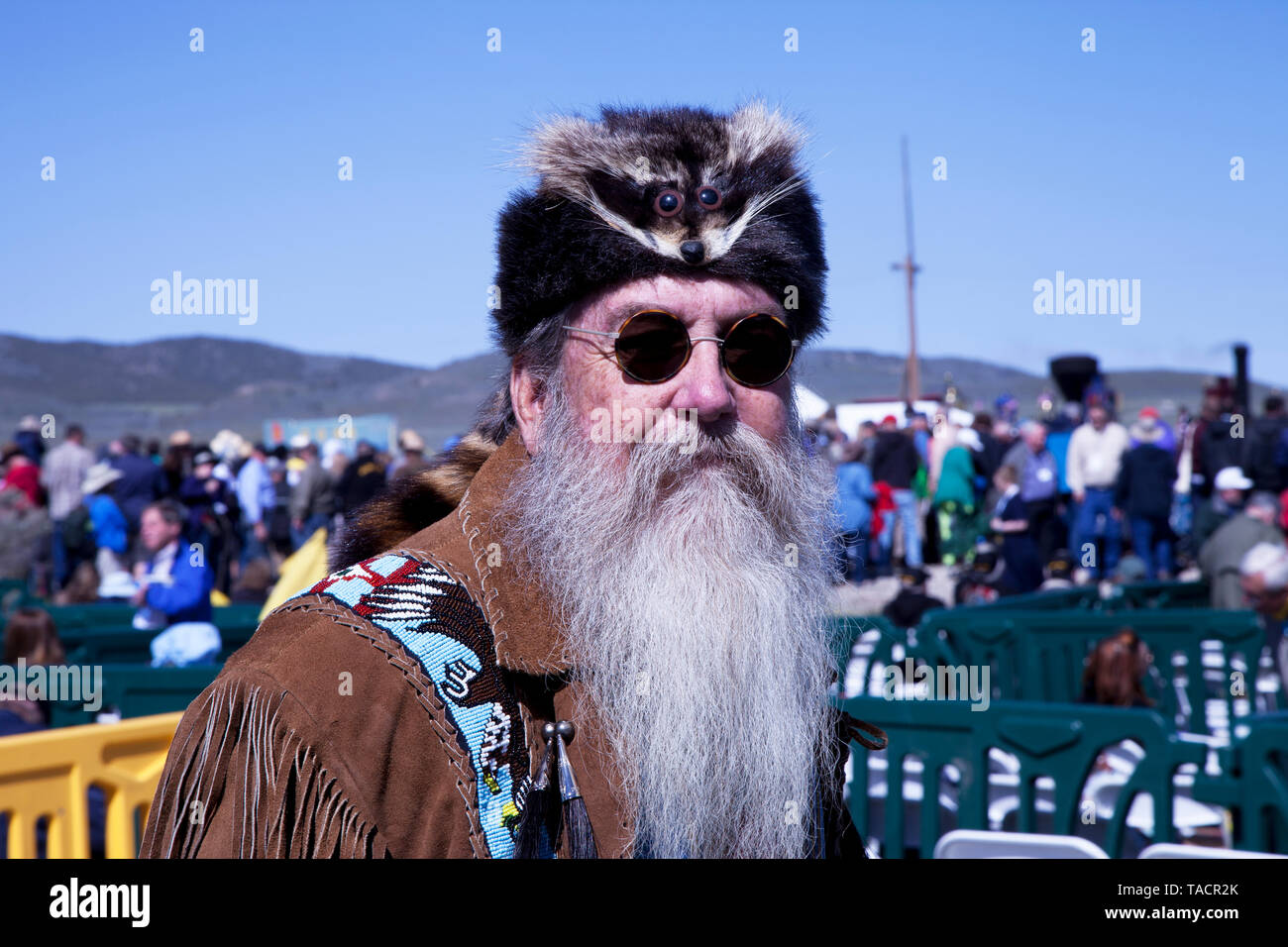 Paul the Mountain Man at the ceremony celebrating the 150th anniversary of the completion of the Transcontinental Railroad at the Golden Spike Nationa - Stock Image