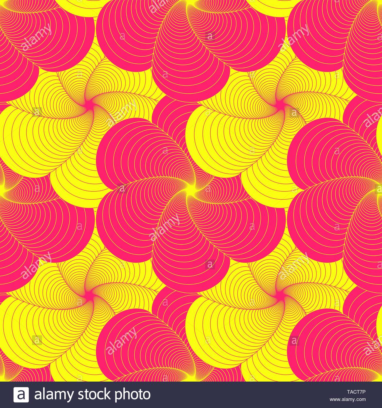 graphic wired flower field seamless tile in vivid pink yellow shades - Stock Image
