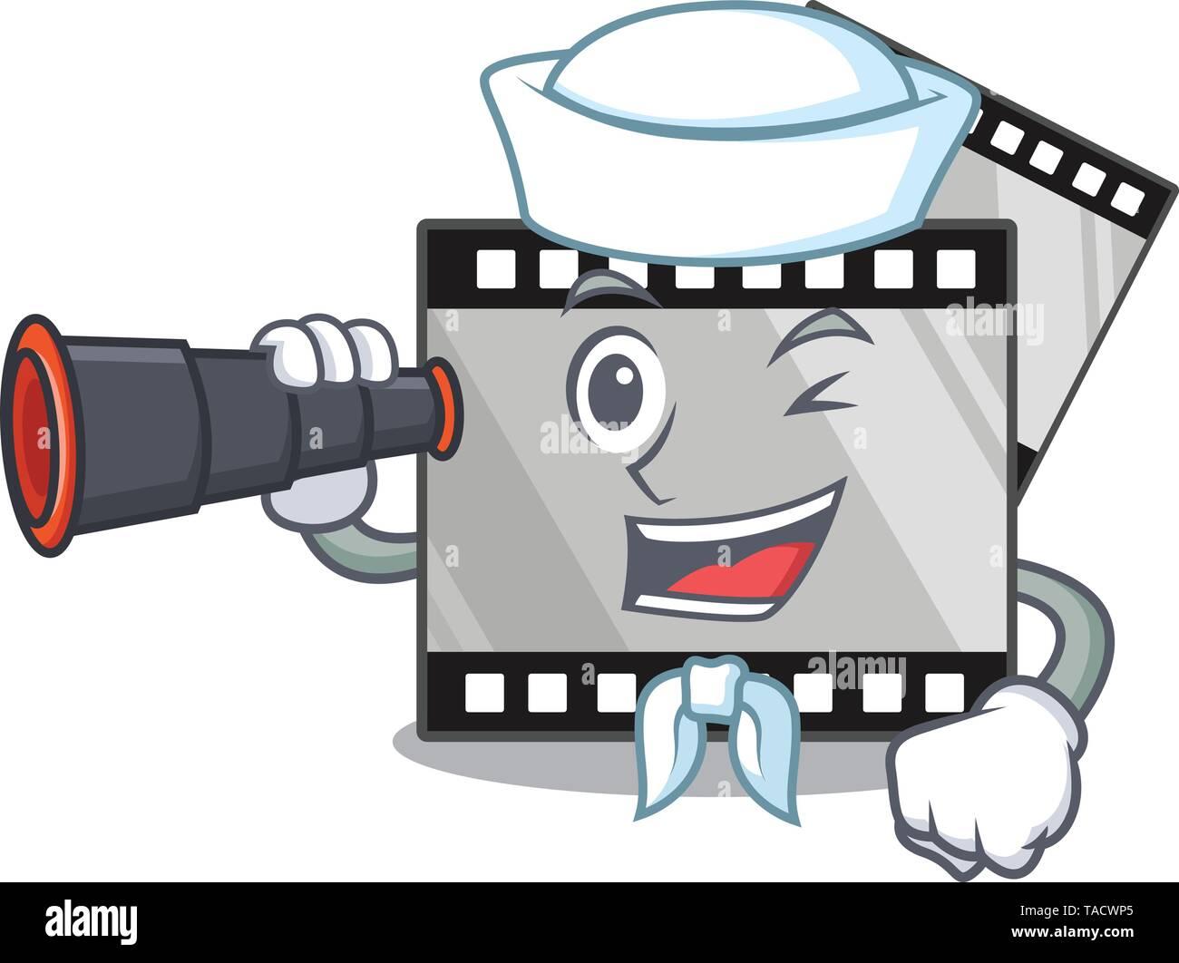 Sailor with binocular stripe movie toys in cartoon shape - Stock Image