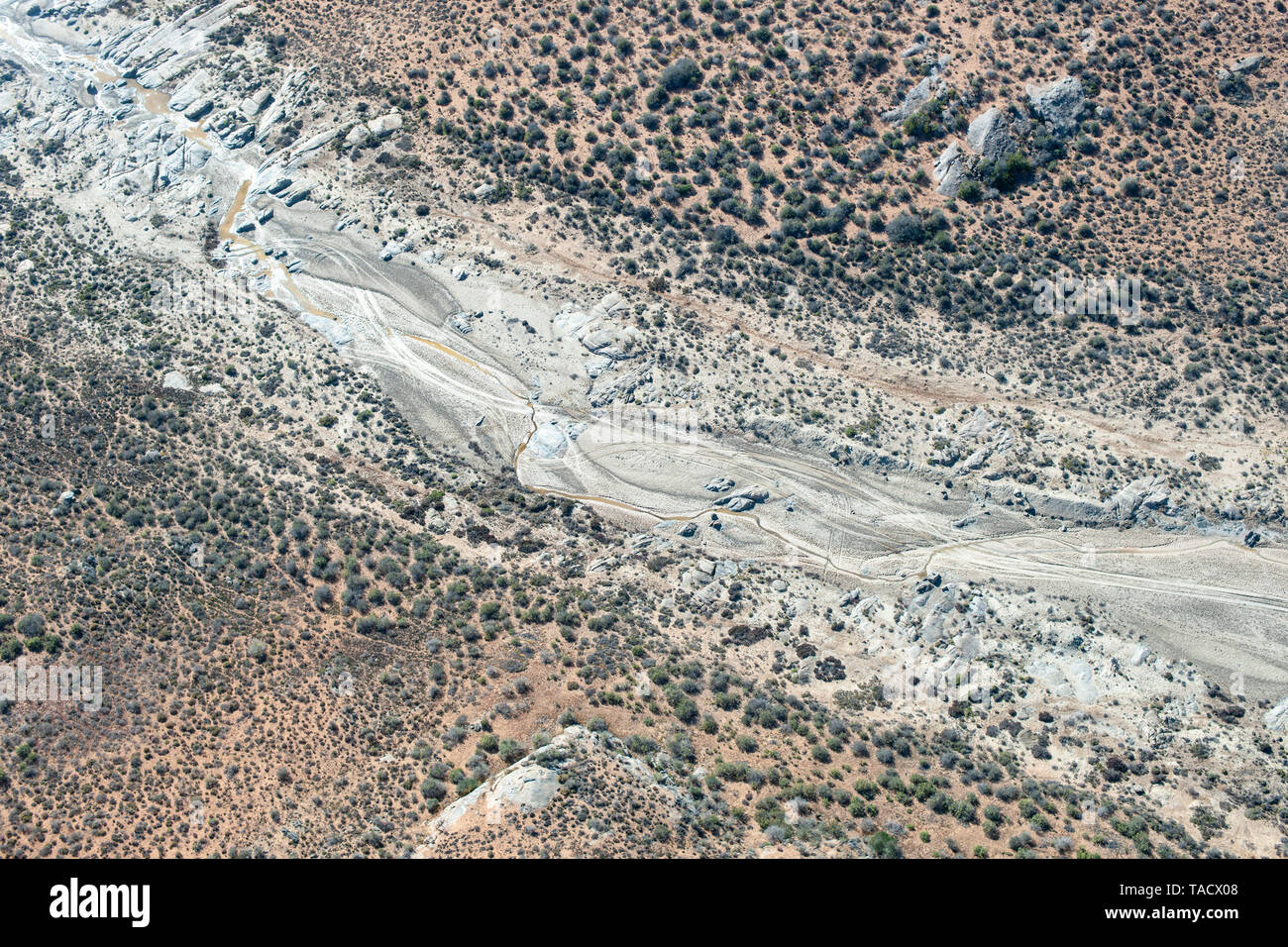 Aerial view of the dry river bed of the Swartlintjies river in the Namaqua National Park in the Northern Cape Province of South Africa. Stock Photo