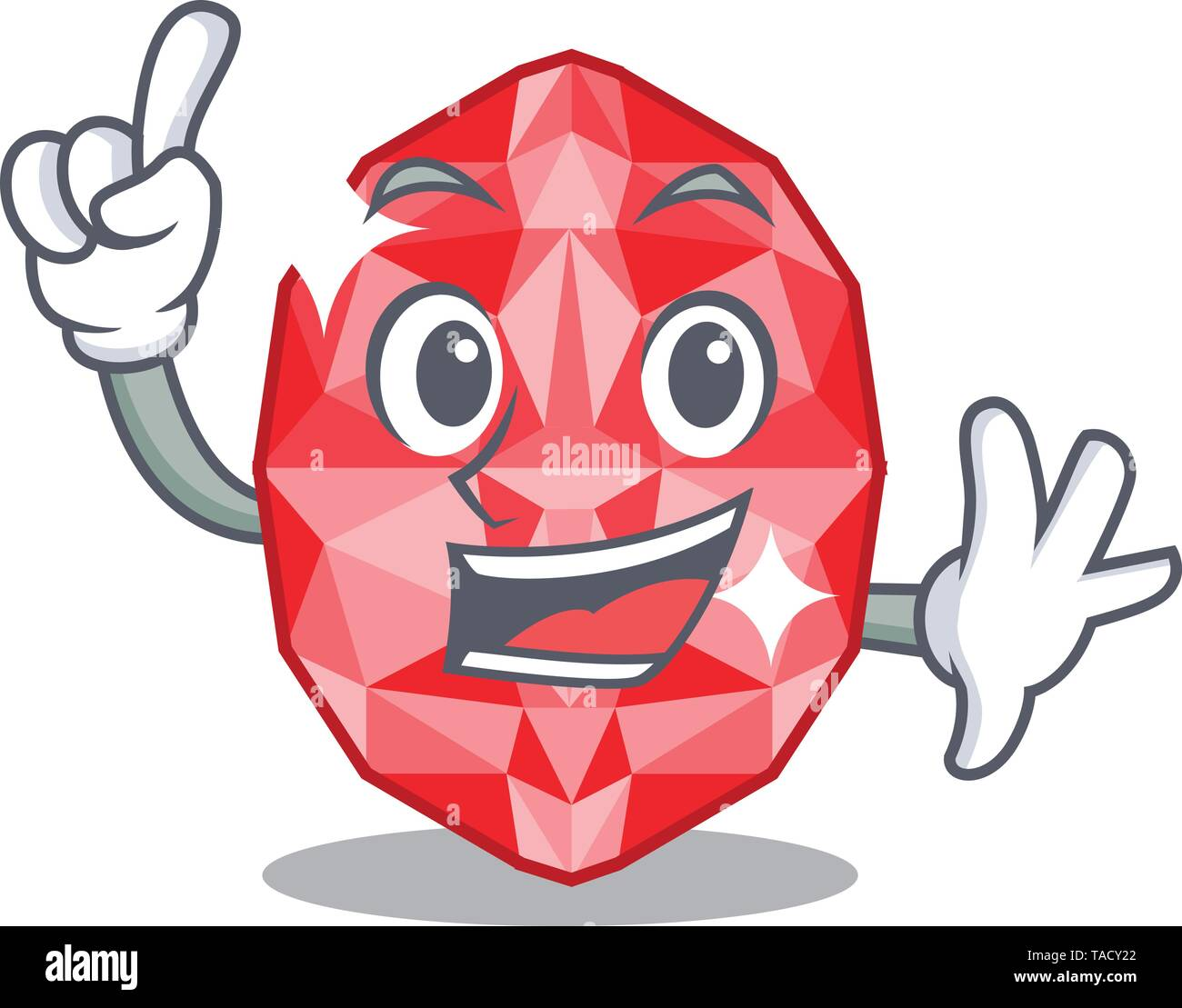 Finger ruby gems in the mascot shape - Stock Image