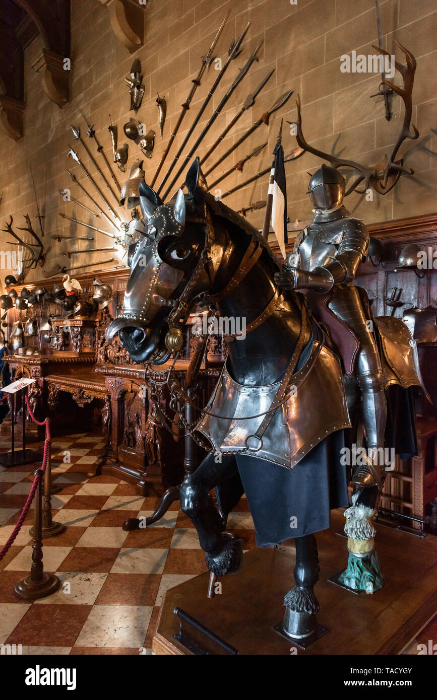 Great Hall, Warwick Castle, Warwick, UK Stock Photo