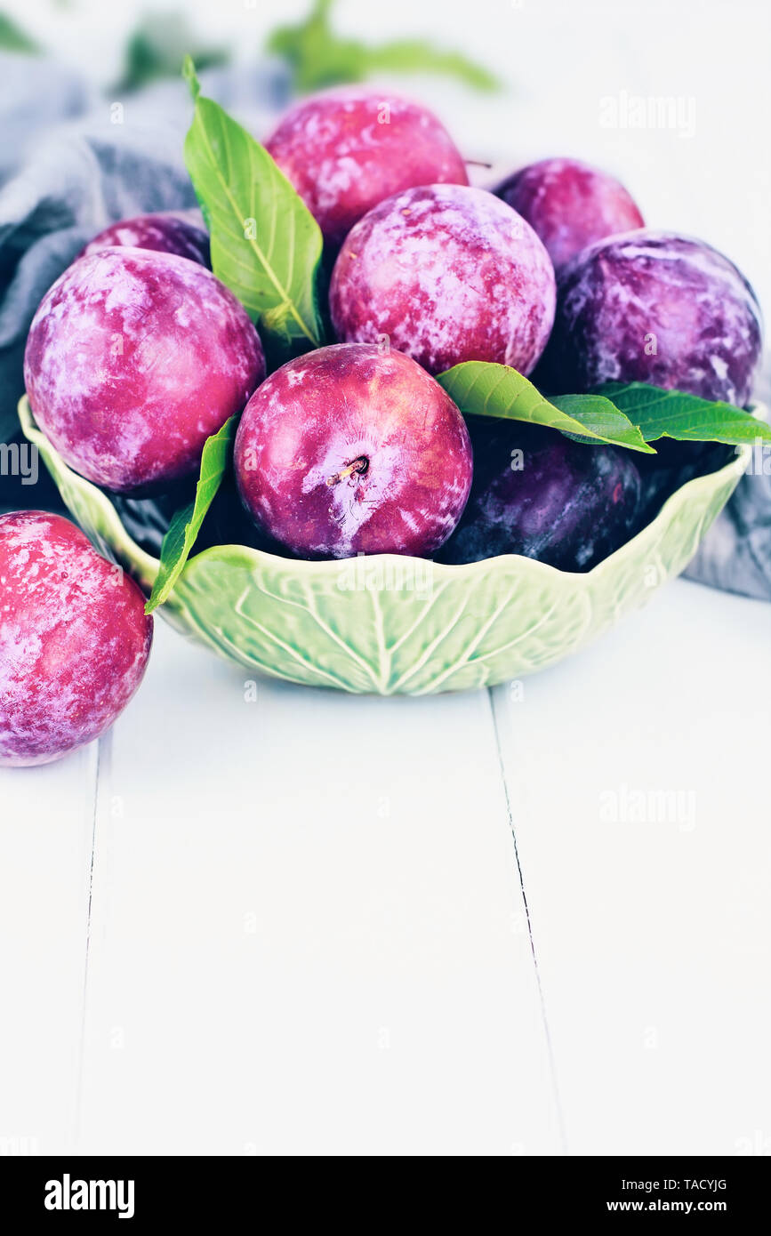 Freshly picked homegrown organic plums from the tree with leaves in a bowl. Stock Photo