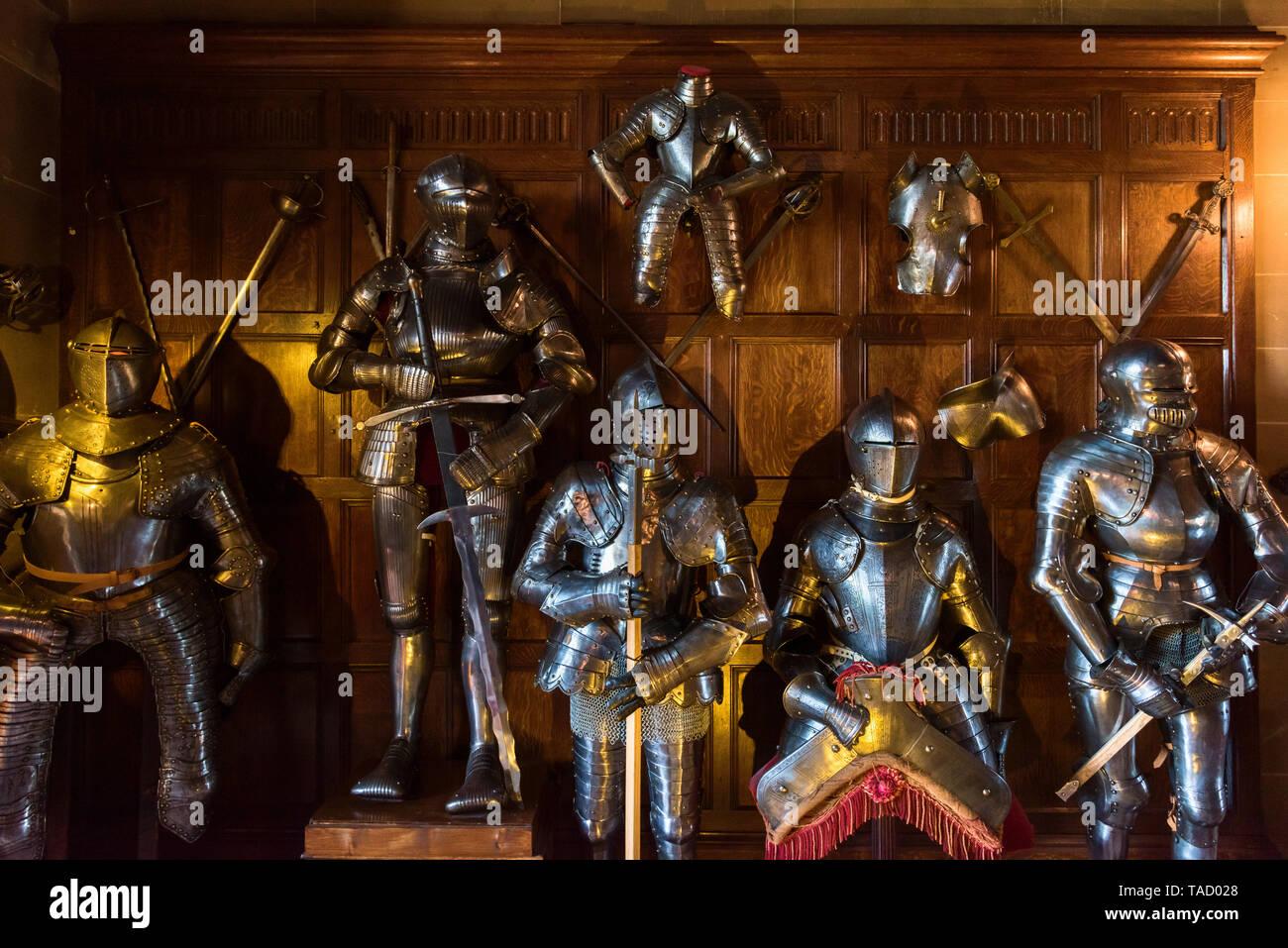 Armour display, Warwick Castle, Warwick, UK Stock Photo