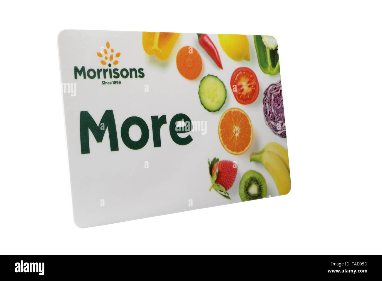 Morrisons More Loyalty Card with personal details removed isolated on a white background - Stock Image