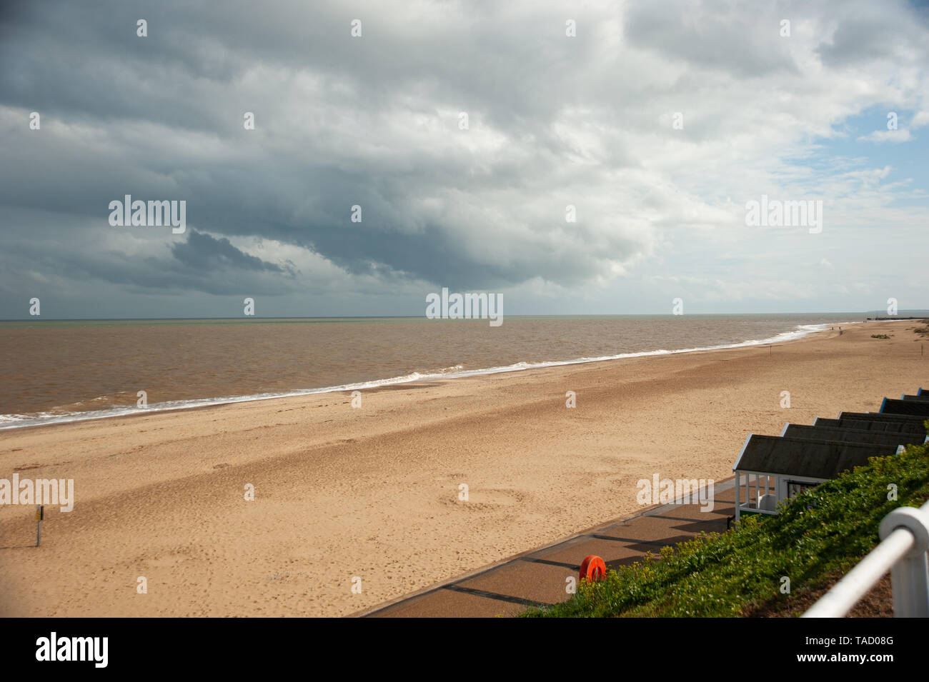 Southwold beach with dark skies - Stock Image