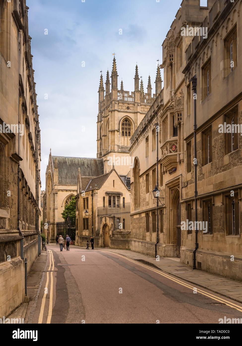 Merton Street, Oxford University, UK - Stock Image