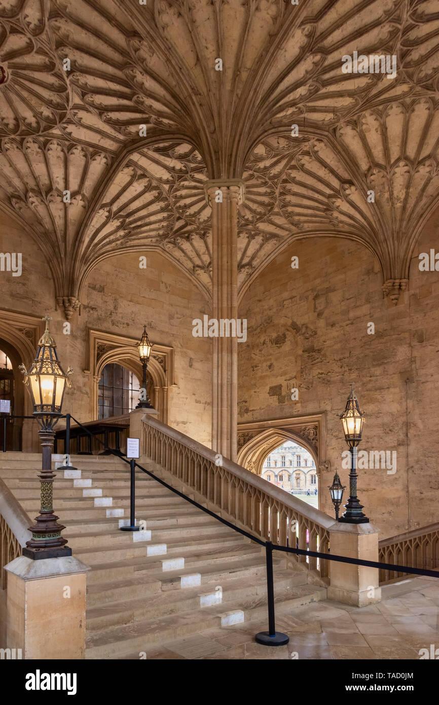 Bodley Tower Hall Staircase, Christ Church, Oxford University, UK Stock Photo