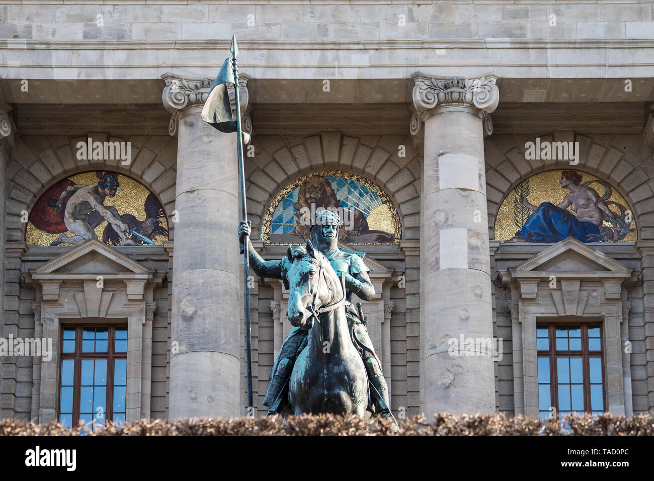 view of famous State chancellery - Staatskanzlei with war memorial in the German city center of the Bavarian capital. - Stock Image