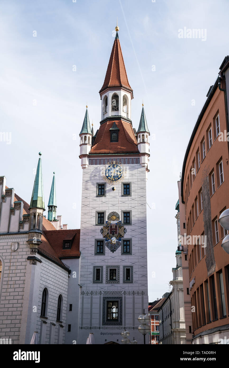 The Old Town Hall located on the Central square of Munich and is one of its main decorations. This building was built in the late 15th century. Munich - Stock Image
