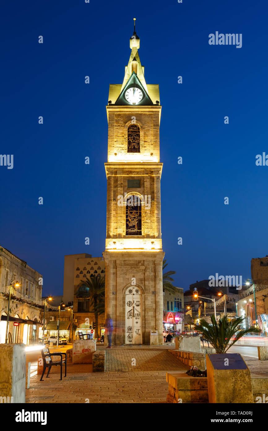Tel Aviv Jaffa Israel The Clock Tower blue hour night city portrait format evening - Stock Image