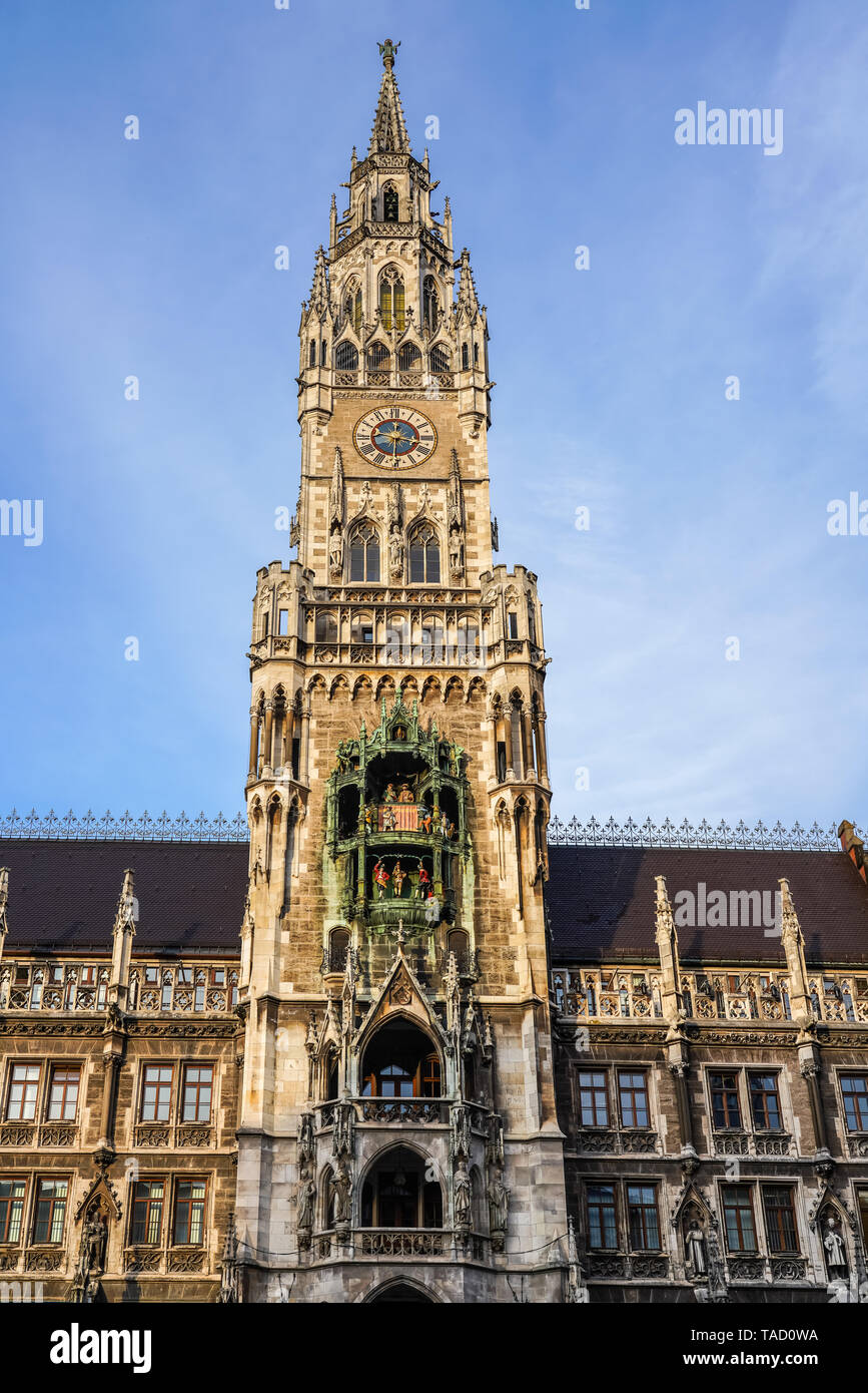 The New Town Hall, is a town hall at the northern part of Marienplatz in Munich, Bavaria, Germany. It hosts the city government including the city cou - Stock Image