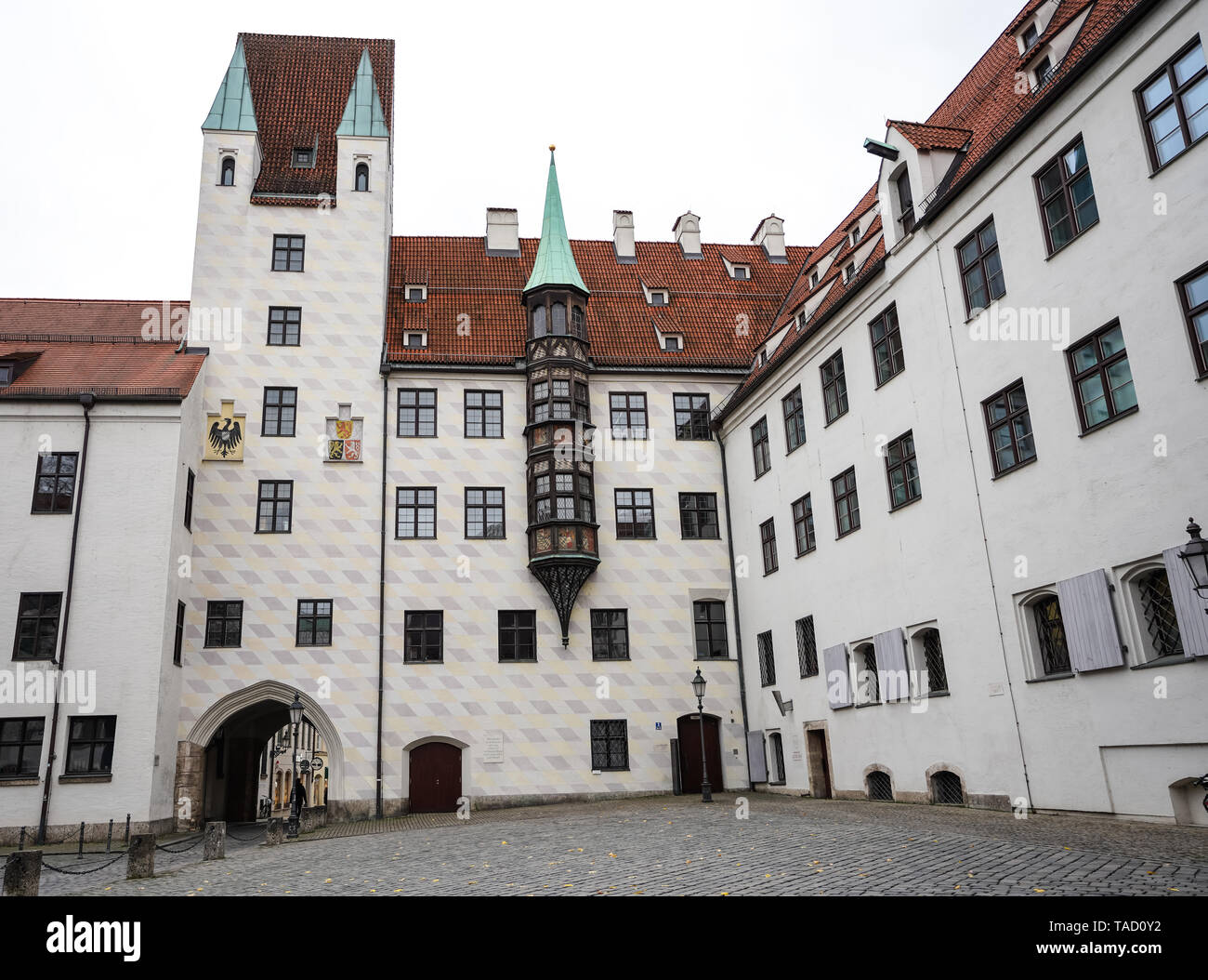 Old Court in Munich, Germany. The Court is the former residence of Louis IV, Holy Roman Emperor. - Stock Image