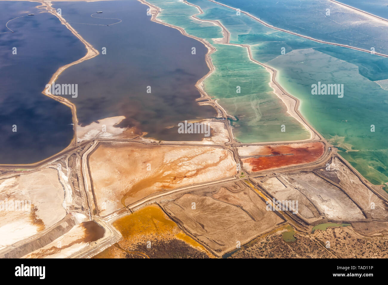 Dead Sea Israel landscape nature salt extraction from above aerial view Jordan vacation holidays - Stock Image