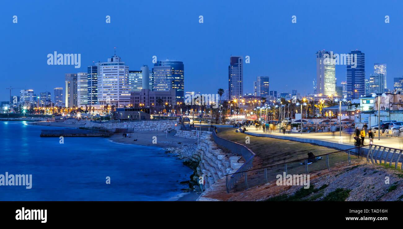 Tel Aviv skyline panorama Israel blue hour city sea skyscrapers evening - Stock Image