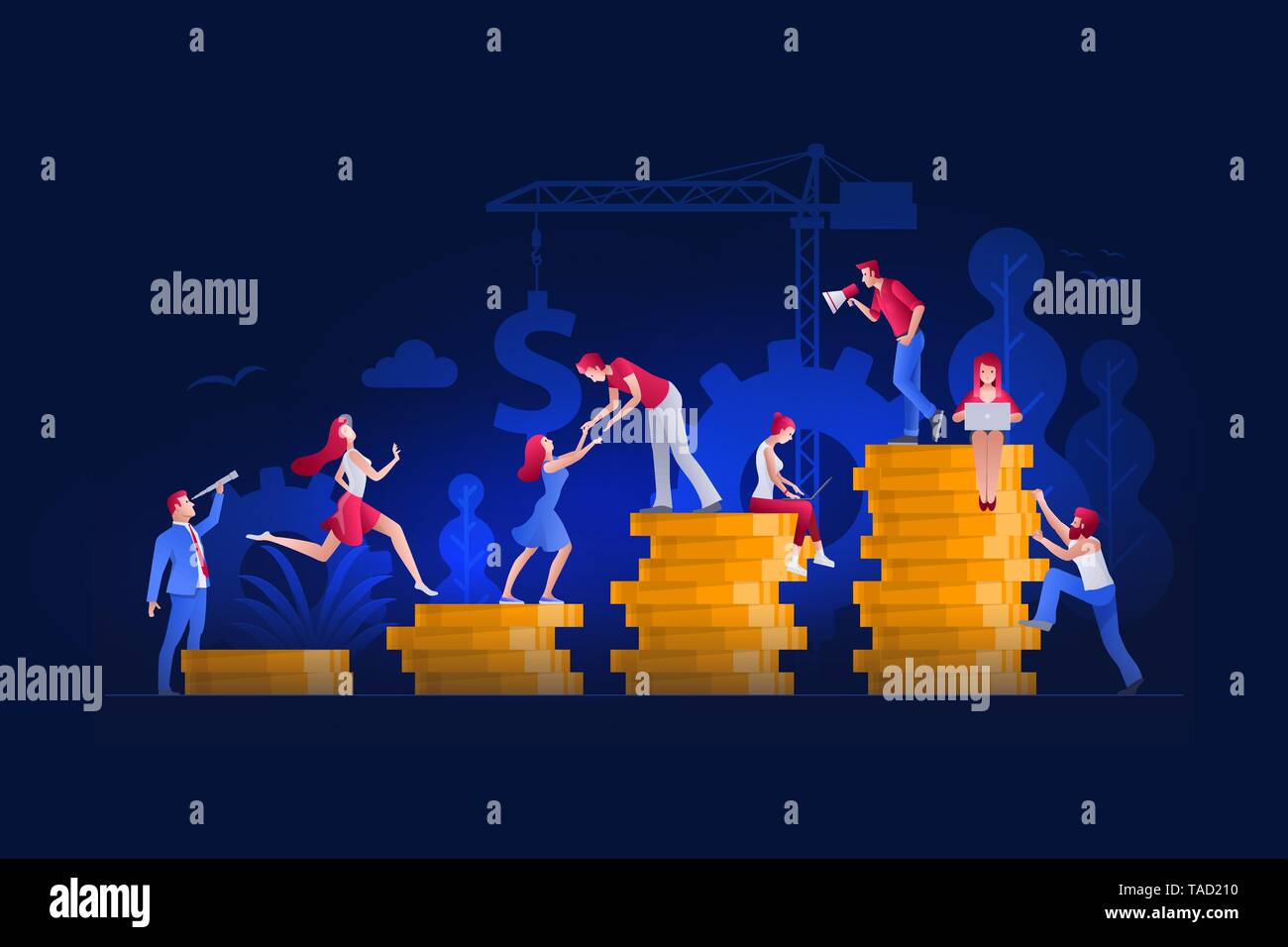 Vector illustration people are working on financial issues. Investment management, career growth to success concept. - Stock Vector