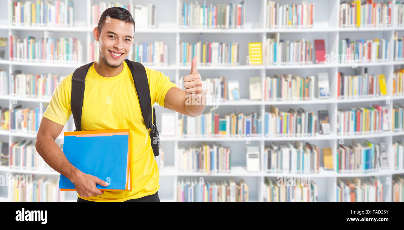 Student Success Successful Thumbs Up Banner Copyspace Copy Space Library Learning Smiling People Learn Stock Photo Alamy