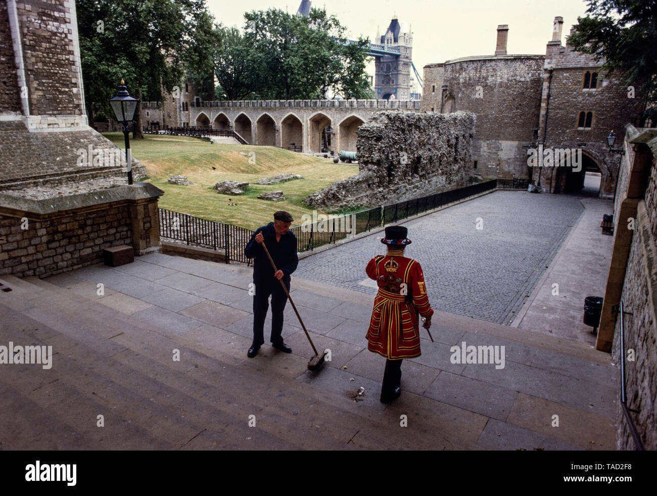 Tower of London, London England 1985 Photographs taken with permission for Illustrated London News magazine in 1985 where I had access behind the scenes before and after The Tower opened and closed to the public. The Tower of London, officially Her Majesty's Royal Palace and Fortress of the Tower of London, is a historic castle located on the north bank of the River Thames in central London. It lies within the London Borough of Tower Hamlets, separated from the eastern edge of the square mile of the City of London by the open space known as Tower Hill. It was founded towards the end of 1066 as Stock Photo