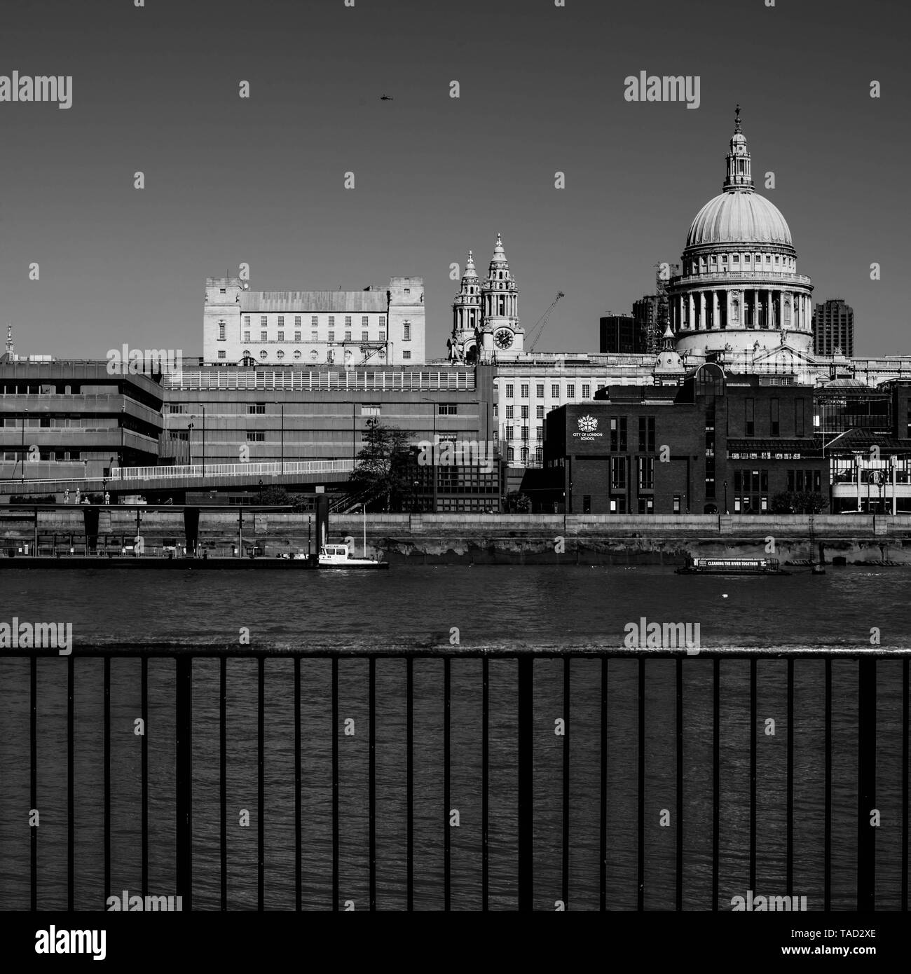 St. Pauls Catherdral London Looking Across the River Thames - Stock Image