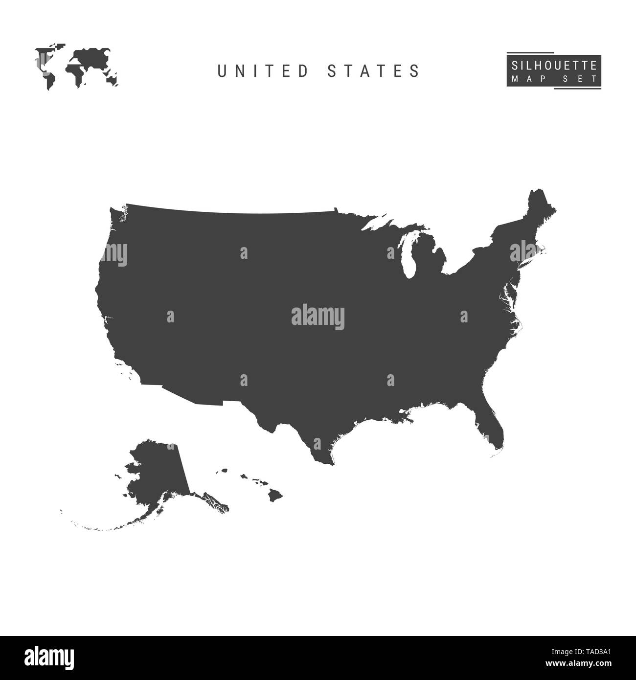 United States Blank Map Isolated on White Background. High ...