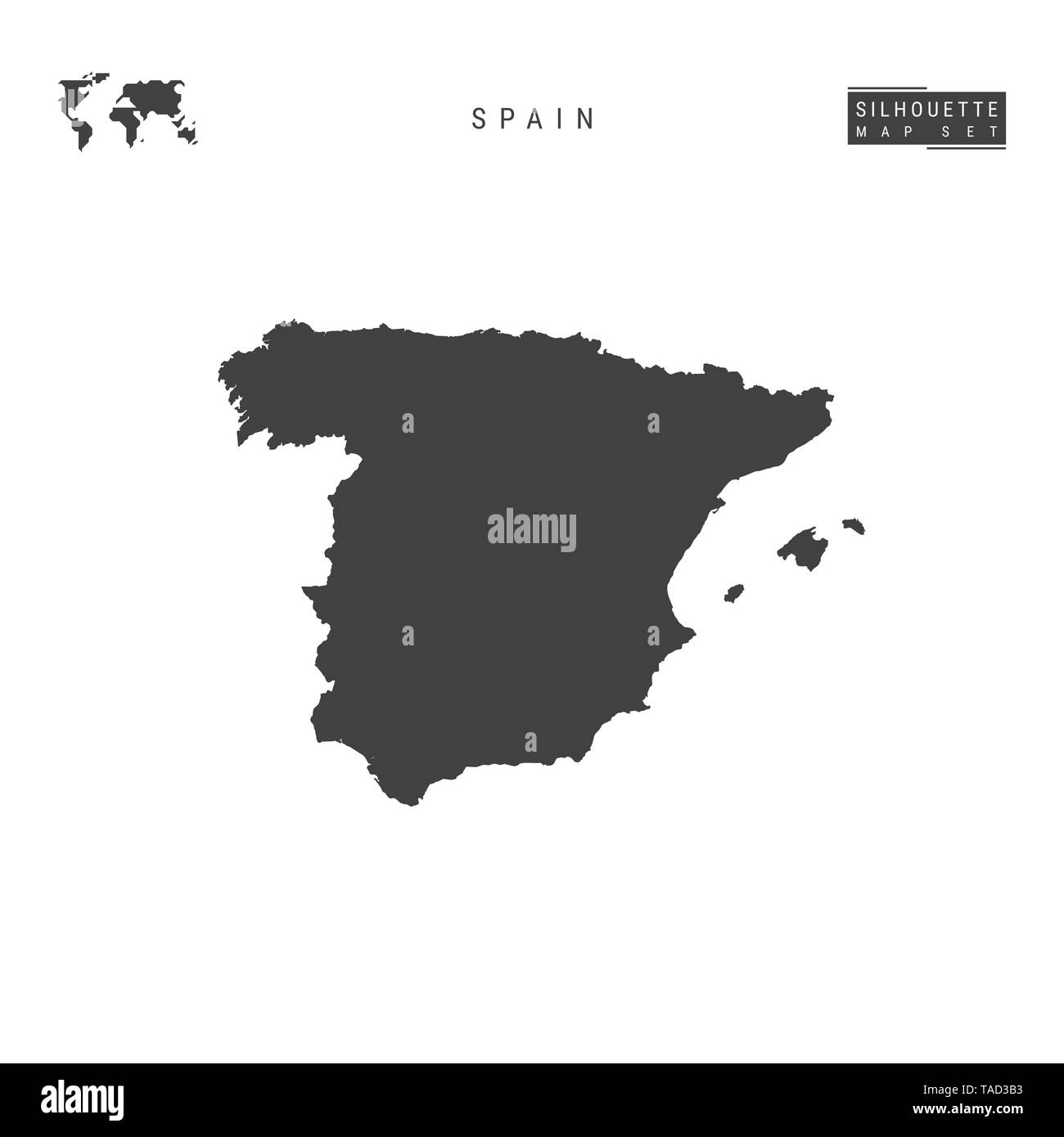 Map Of Spain Blank.Spain Blank Map Isolated On White Background High Detailed Black
