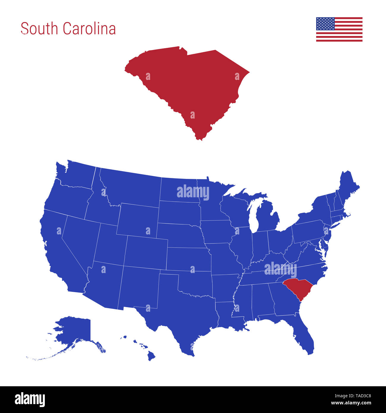 united states map south carolina The State Of South Carolina Is Highlighted In Red Blue Map Of The