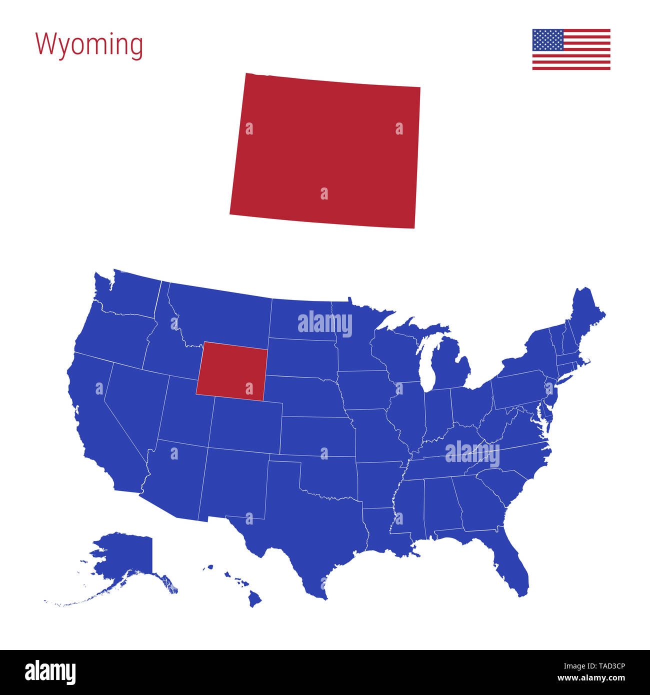 The State of Wyoming is Highlighted in Red. Blue Map of the ...