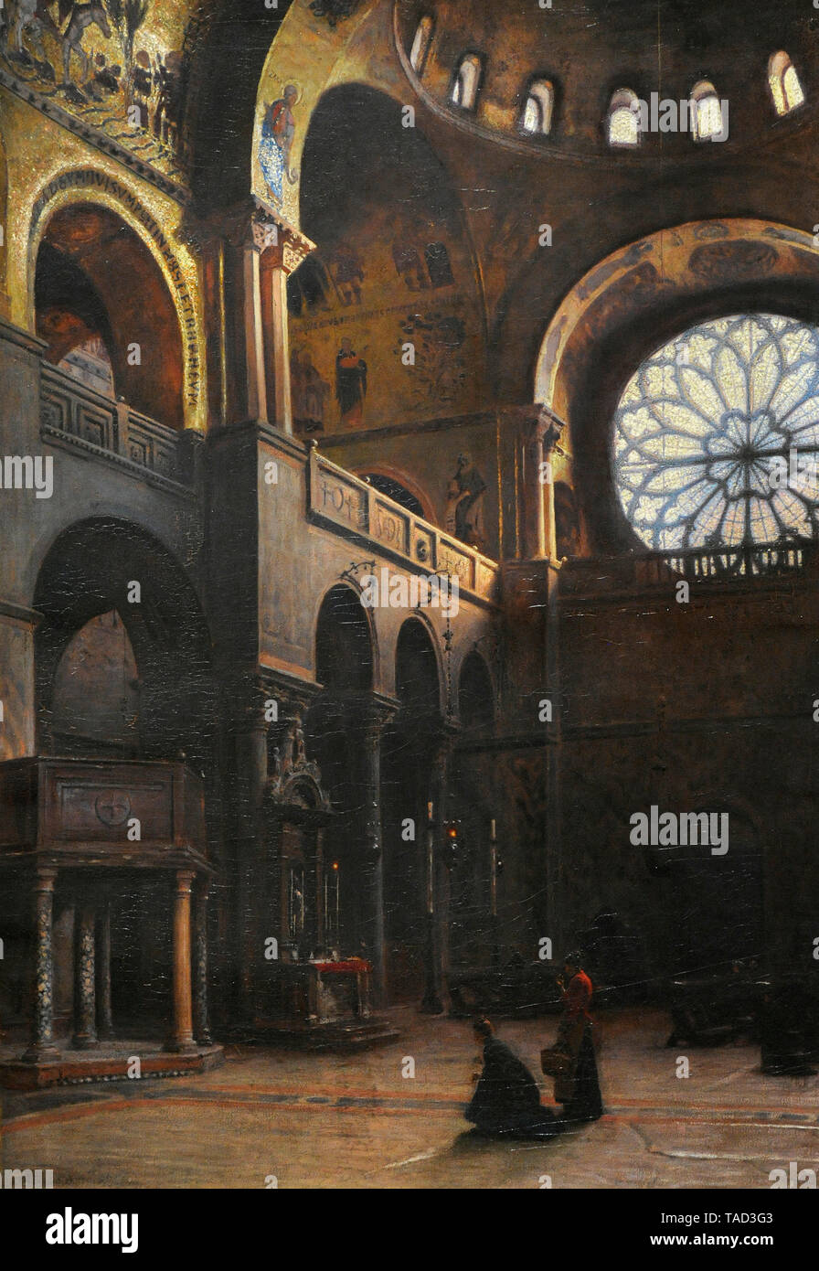 Aleksander Gierymski (1850-1901). Polish painter. Interior of St Mark Basilica in Venice, 1899. National Museum. Warsaw. Poland. - Stock Image