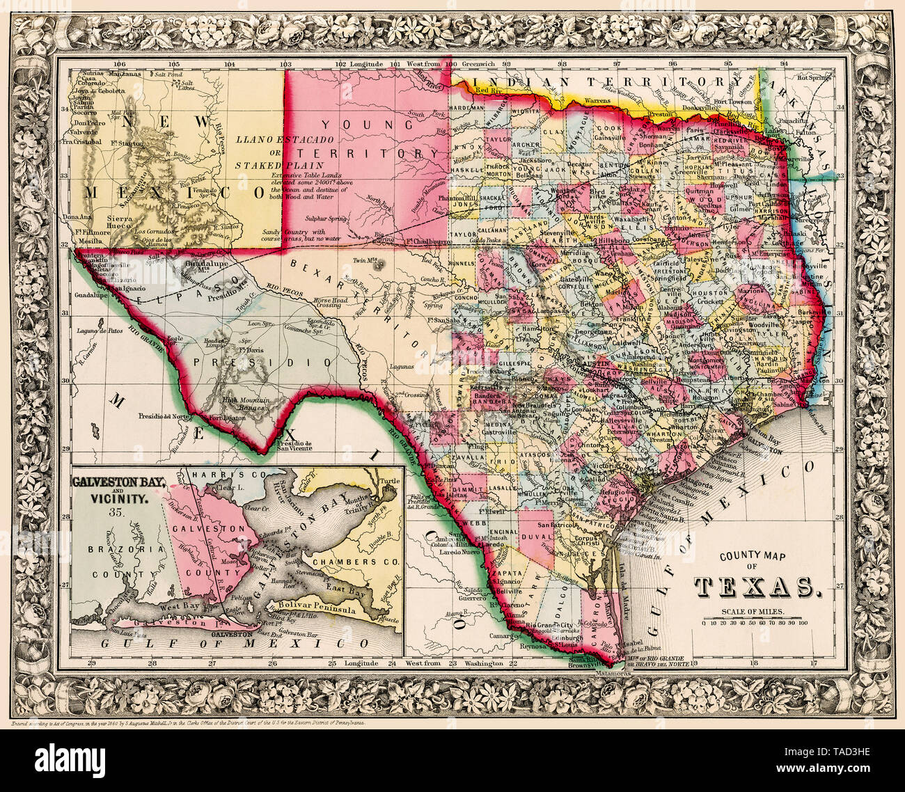 Map Of Texas Showing Counties.Antique And Detailed Historical Map Of Texas Noting Counties In 1963