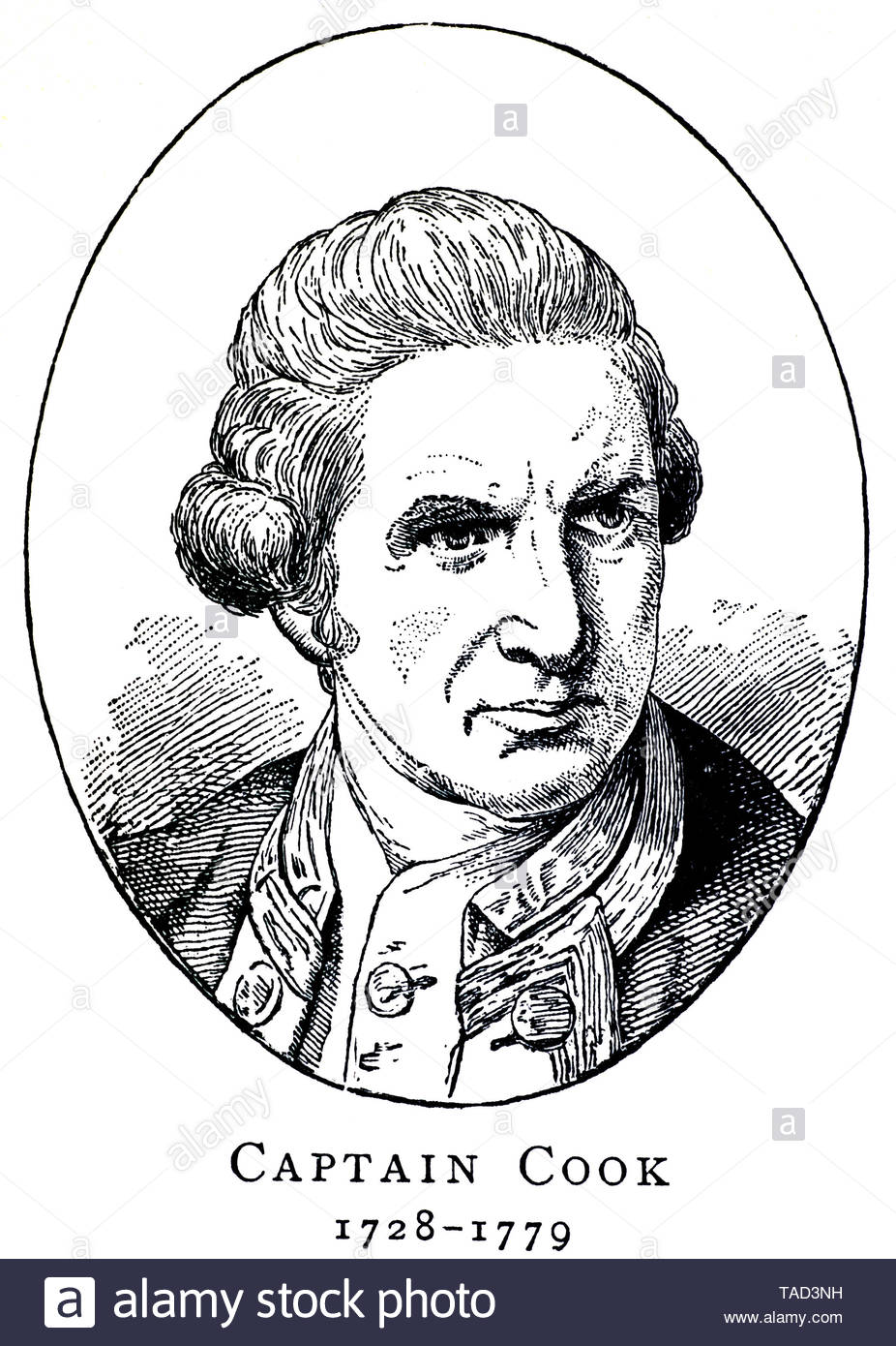 Captain James Cook 1728 - 1779 was a British explorer and captain in the Royal Navy, known for discovering Australia and New Zealand - Stock Image