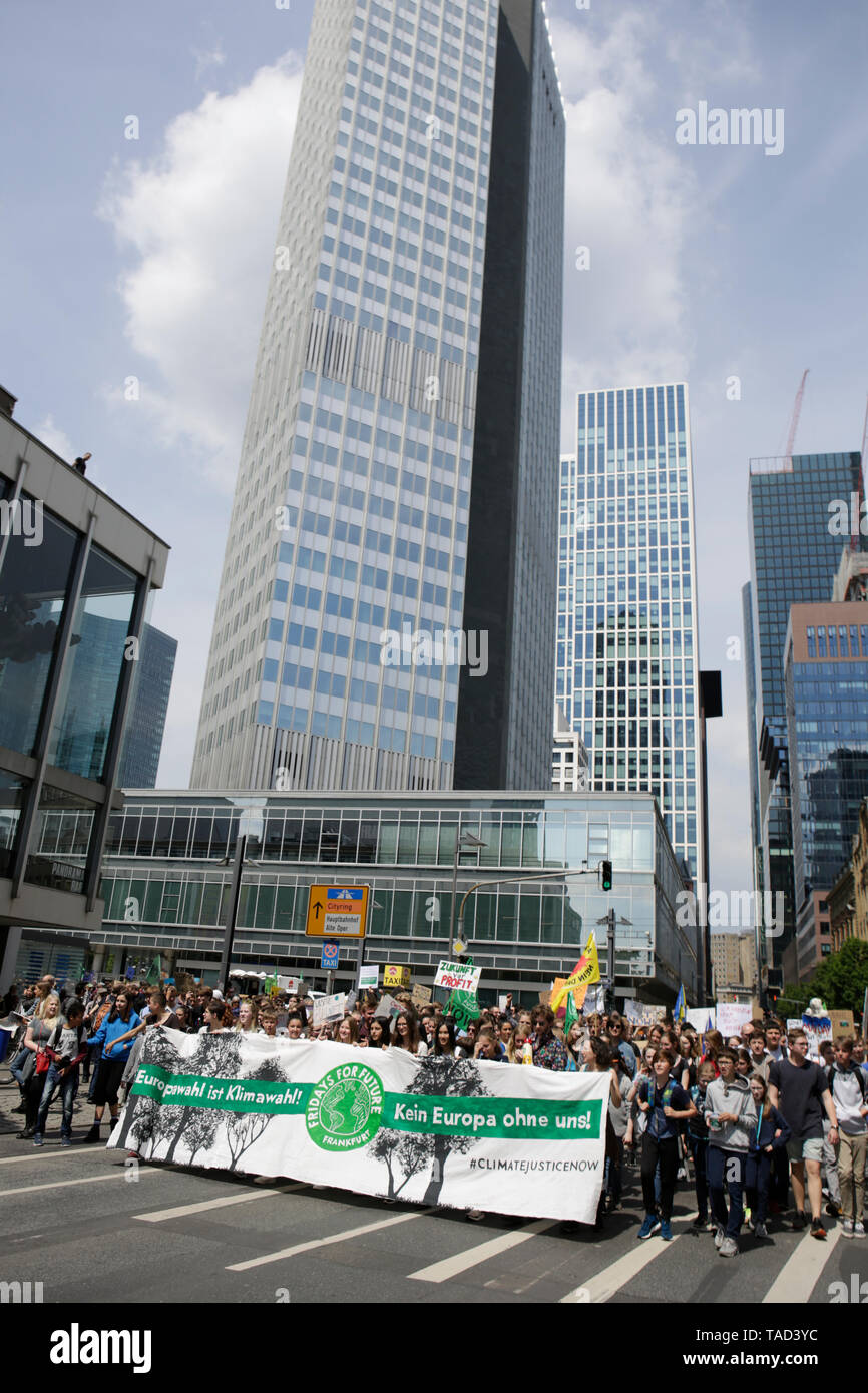 Frankfurt, Germany. 24th May 2019. The front of the march can be seen with the former ECB (European Central Bank) Building in the background. Around 4,500 young people marched through Frankfurt to the European Central Bank, to protest against the climate change and for the introduction of measurements against it. The protest took place as part of an Europe wide climate strike, two days ahead of the 2019 European elections. - Stock Image