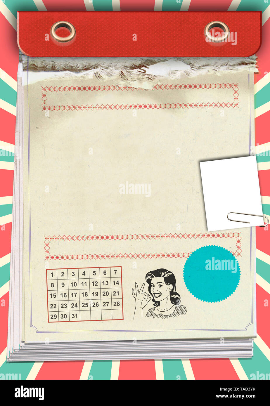 tear-off calendar for filling in a birthday - Stock Image