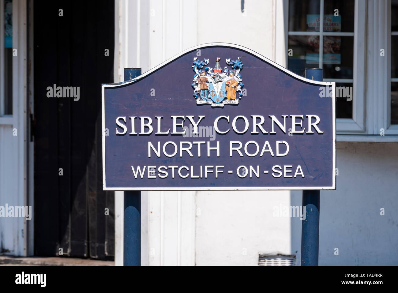 Sibley Corner, North Road, Westcliff on Sea, Essex, UK. Sign. Southend borough - Stock Image