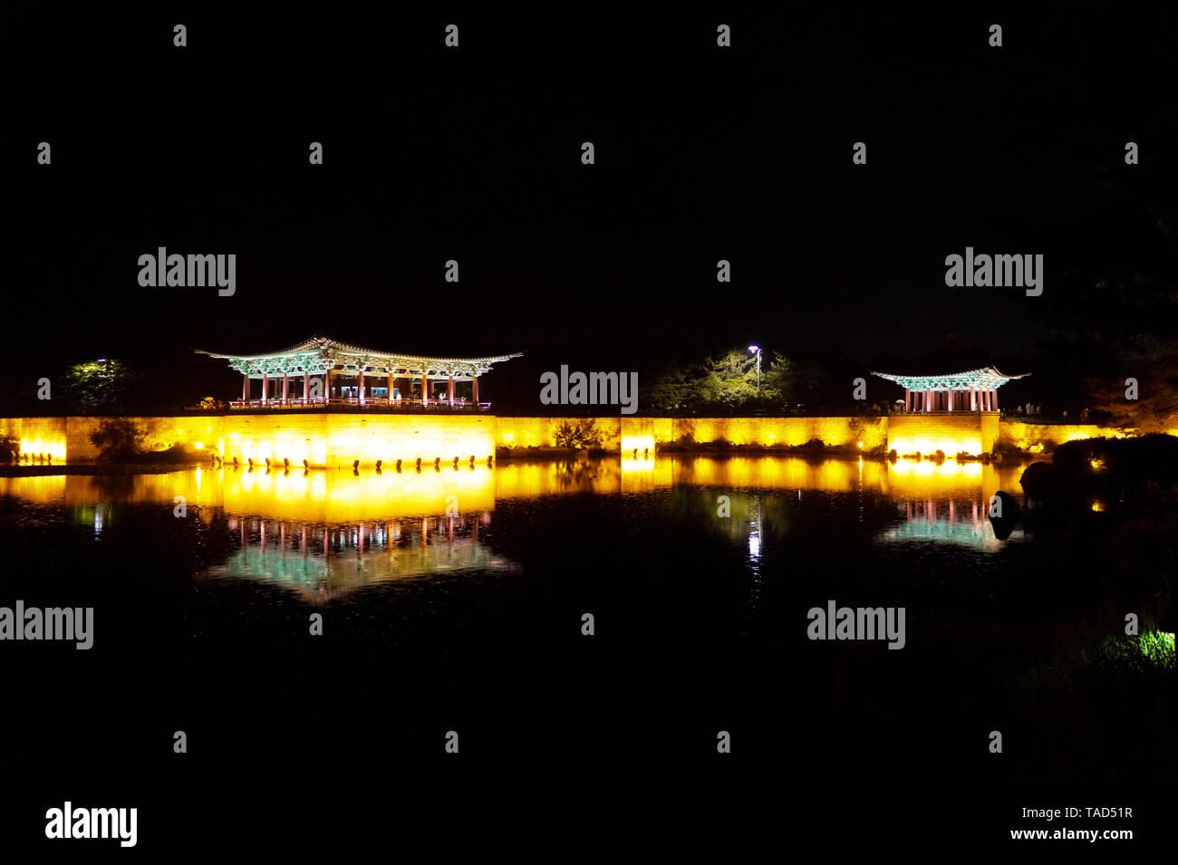Korean Gyeongju Tours Shilla Wall-ji Night Scenic Area Stock Photo