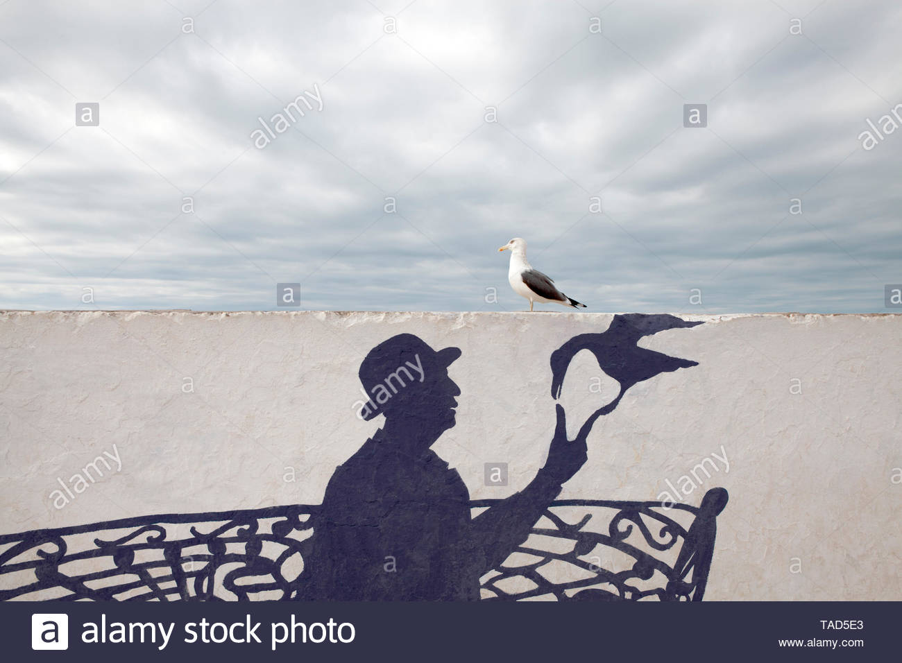Morocco, Essaouira, wall painting of man wearing a bowler hat with seagull - Stock Image