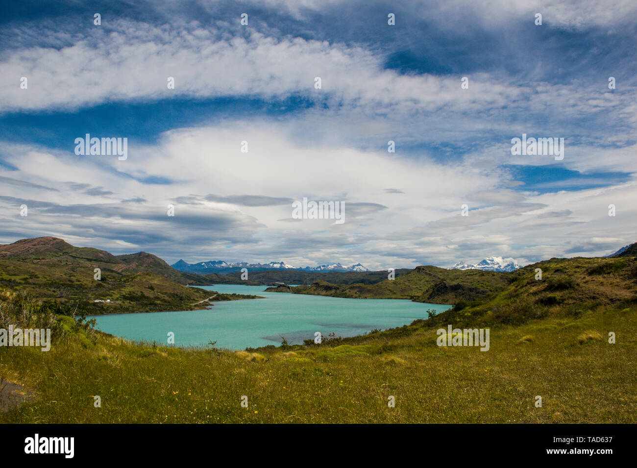 Chile, Patagonia, Torres del Paine National Park, Turquoise lake - Stock Image