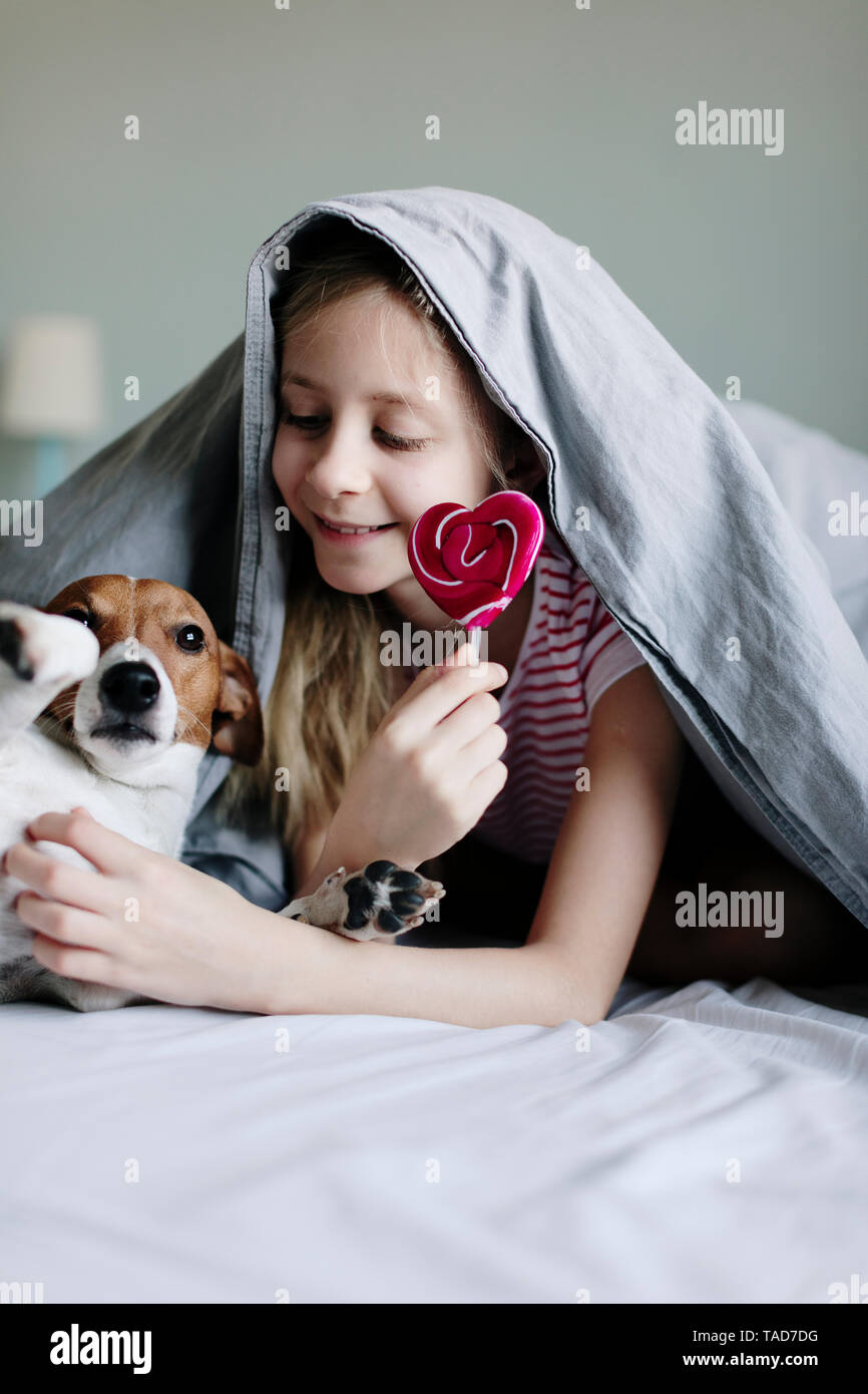 Smiling girl lying on bed with lollipop tickling her dog - Stock Image