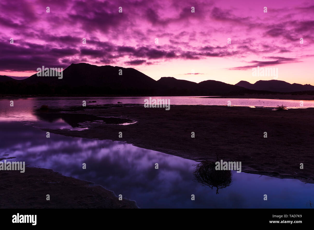 South Africa, Cape Town, coast in the evening - Stock Image