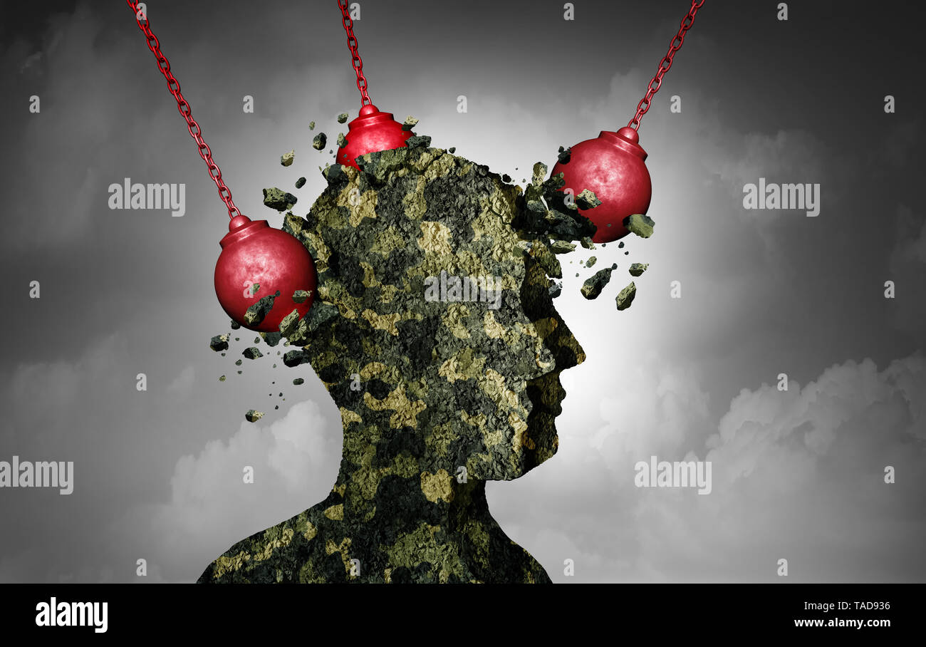 Military stress and soldier suffering PTSD or post traumatic stress disorder and war combat anxiety and infantry and veteran mental health issues. - Stock Image