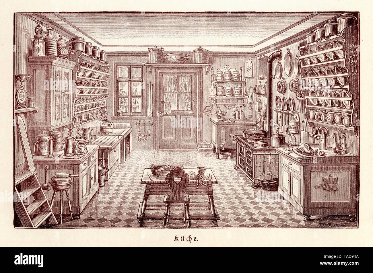19th century bourgeois cuisine ,  (housekeeping book, ca. 1900) - Stock Image