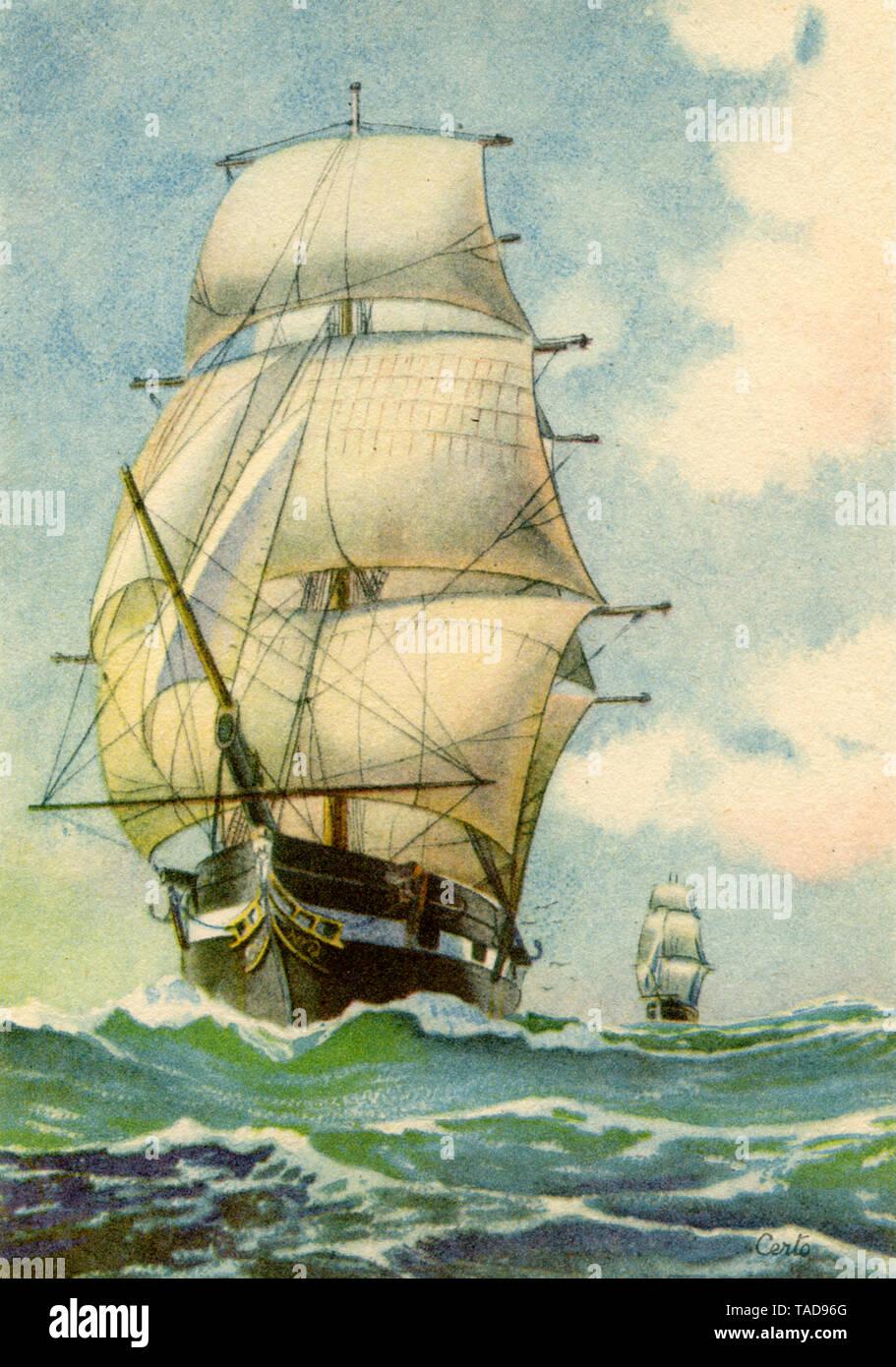 Sailboats on the high seas , Certo (postcard, ) - Stock Image
