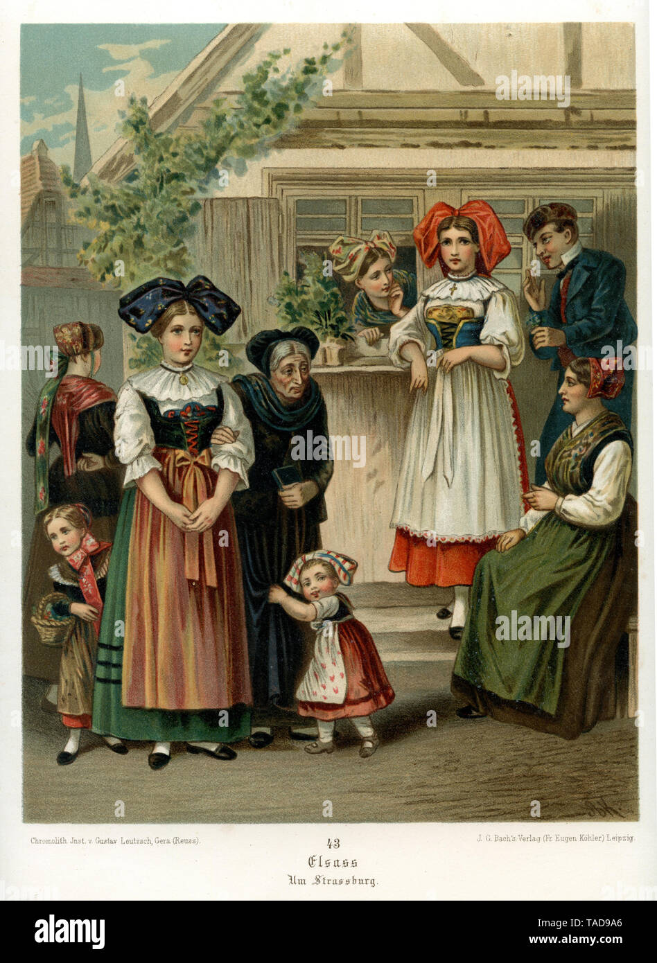 Alsace: traditional costumes from the region around Strasbourg, from Albert Kretschmer, German folk costumes, 1889 , Albert Kretschmer (, ) - Stock Image