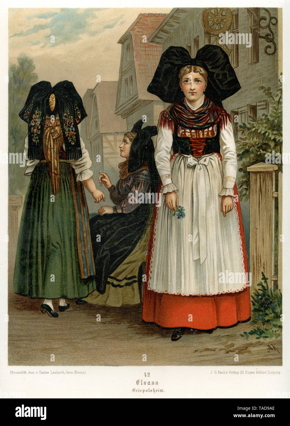 traditional costumes from Alsace: Geispolsheim, from Albert Kretschmer, German folk costumes, 1889 , Albert Kretschmer (, ) - Stock Image