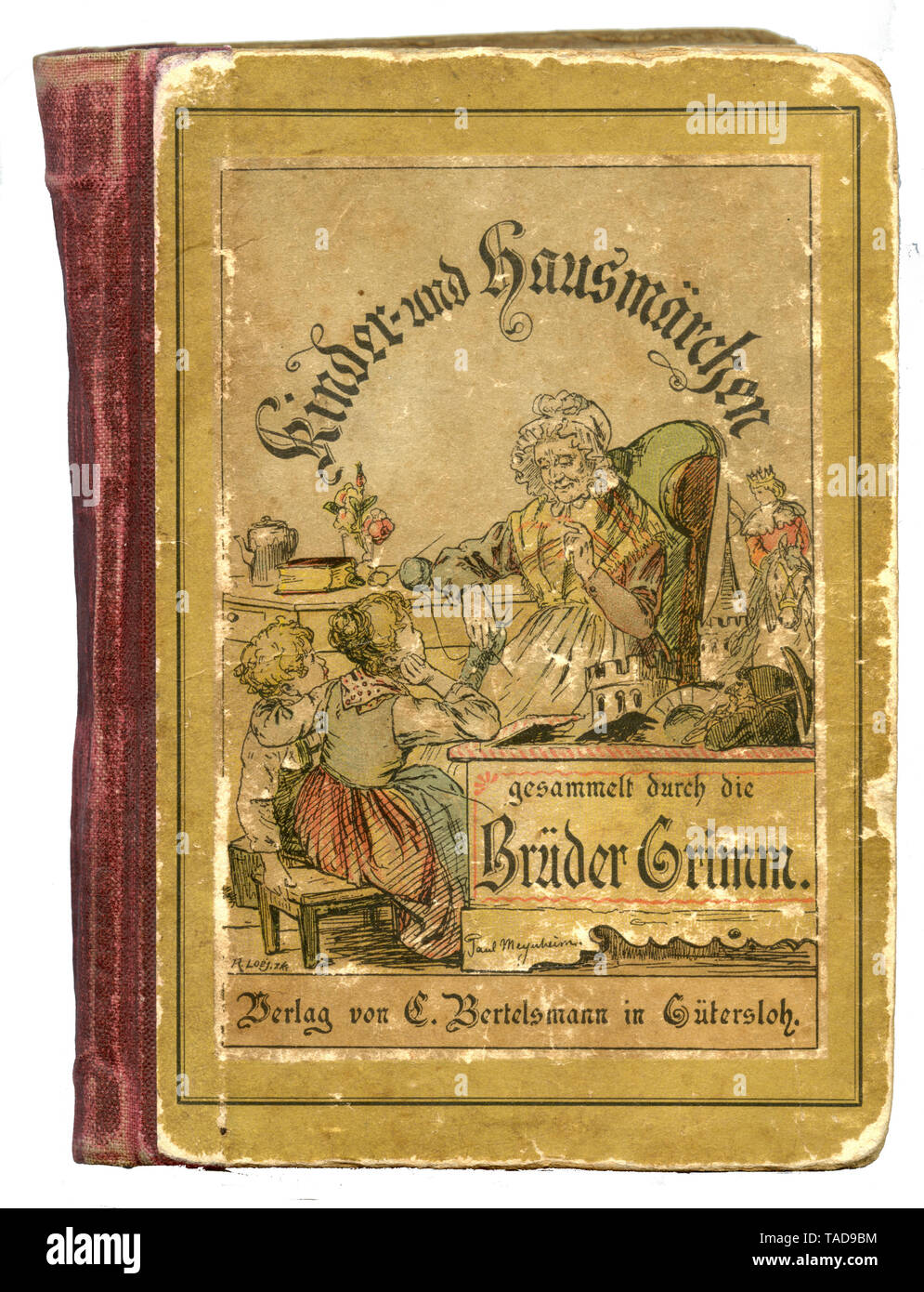 Torn cover of the book: Children and domestic fairy tales collected by the Brothers Grimm ,  (, ) - Stock Image